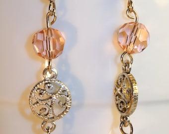 Pink Crystal Beaded Earrings