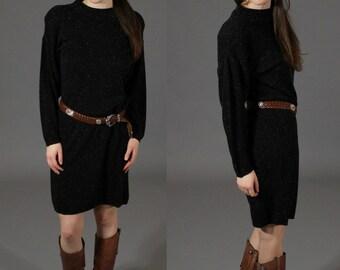 Vintage 1980's Black Speckled Crew Neck Sweater Dress - Spago Knits - Size Large