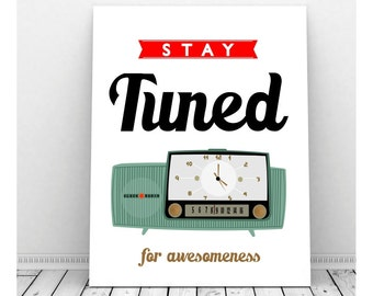 Mid Century Radio Art, Printable Art, Instant Download, Mid Century Art, Retro Radio, Turquoise Radio, Musical Art, Stay Tuned
