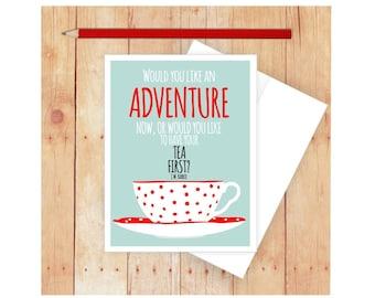 Tea Cup Card, Happy Birthday Card Tea, JM Barrie, Blank Note Card, Tea Lover Gifts, Tea Cup Art, Note Card Set, Thank you Card, Friend Card