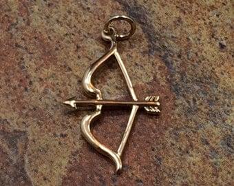 Bow and Arrow Charm, Bow and Arrow Pendant, Bronze Bow and Arrow, Bow and Arrow, Valentines Day, Love Charm, Archery Charm, PS0105