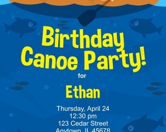 Canoe Birthday Invitation - printable design, customizable, instant download For Boys or Girls Lake or River Canoe Party