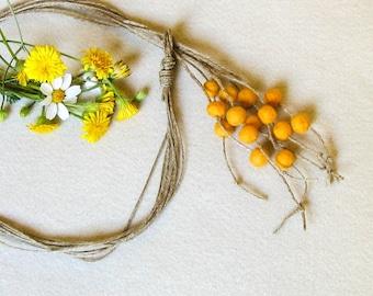 Orange Yellow Yarn Necklace, Felt Ball Necklace, Long Y Hemp Necklace,  Multi Strand Eco-Friendly Lariat, Boho chic Necklace, Wool Jewelry