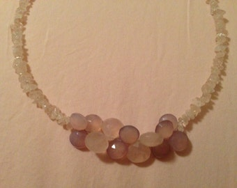 Handcrafted Pink Chalcedony and Rose Quartz Necklace