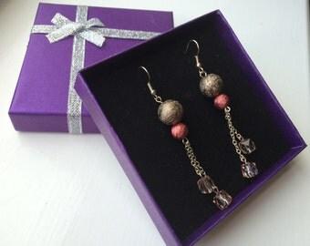 Long Earrings - Beads and Chain