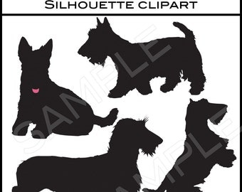 10 Vector Clipart EPS File Terrier Dog Shapes Sillouettes Transparent Background