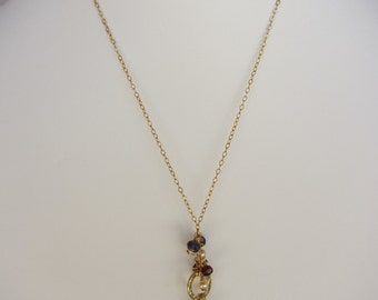 Green Amethyst Pendant, Iolite, Garnet, Pearl Handmade Necklace with 14K Gold Chain