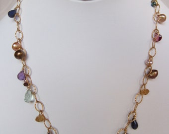 Citrine, Garnet, Purple Amethyst, Iolite, Pearl, other Semi-Precious Stone Handmade Necklace with 14K Gold Filled Chain