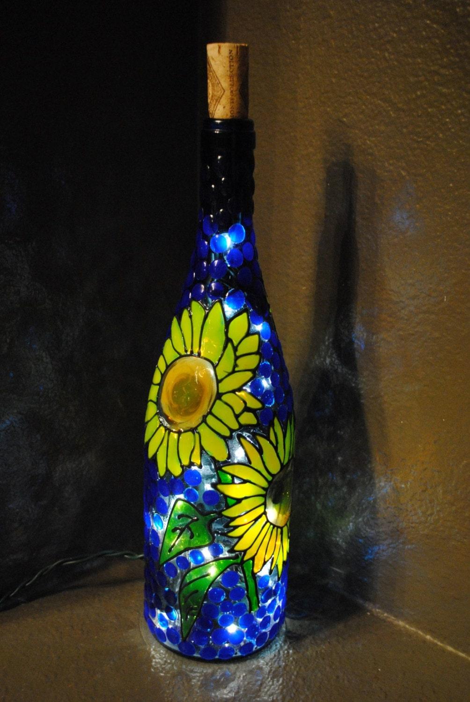 Sunflower lighted decorative wine bottle by winenotbottles for Lighted wine bottle craft
