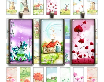 Whimsical Fairyland Collage Sheet - Domino Rectangular Images 1x2 inch, 0.75x1.5 inch Printable Digital images - Instant Download