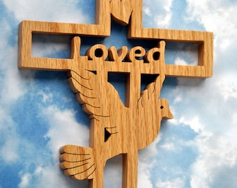 Personalized Wooden Dove Wall Cross