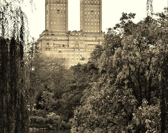 An Evening at Central Park, New York City, NY - Sepia Photo Poster Wall Art Picture - Manhattan - 8x10 or 16x20