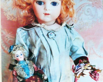 Poster.  Foto of antique doll. Beautiful Bru doll. Bisque doll. French doll. Elegant doll. Picture frame. Ancient doll.