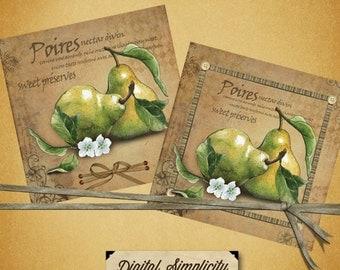 Vintage Collage Pear Label