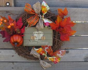Autumn Grapevine Wreath- Fall Wreath- Pumpkin Wreath- Autumn Blessings Wreath- Maple Leaf Wreath- Fall Ribbon Wreath- Pumpkin Decor