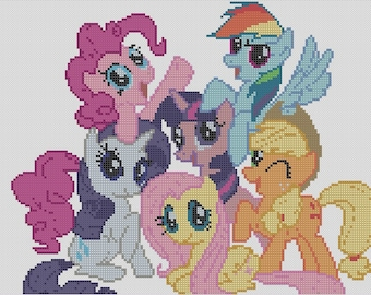Counted Cross Stitch Pattern, MLP, My Little Pony, Friendship is Magic, Instant Download, PDF Pattern, Hand Designed by Dueamici