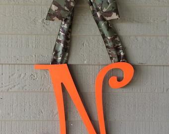 Camouflage Initial Monogram Door Hanger Hunting Wreath