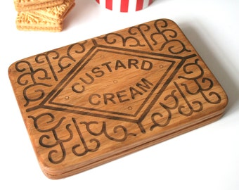 Fathers Day Coaster - Giant Biscuit coaster - Giant Custard Cream - wood serving board - Natural Oak Coaster - Tea time treat - gift for dad