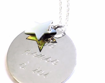 Custom necklace medal round silver