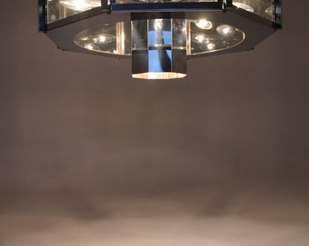 HUGE CHROME CHANDELIER   9 lights atomic googies ufo retro style  from the  70s