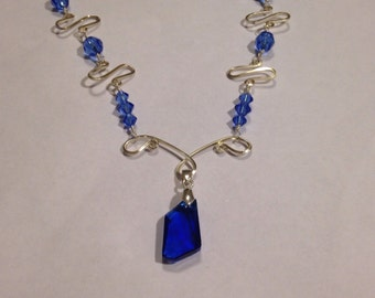Blue Wire Wrapped Necklace - Sapphire Necklace Swarovski Crystal Necklace - Wire Wrapped Necklace - Blue Crystal Necklace