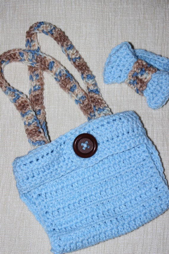 Items similar to Crochet Baby Bowtie and Diaper Cover with ...