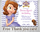 Sophia The First Invitation, Sophia The First Birthday Invitation, Sofia The First, Princess  Sofia Invitation