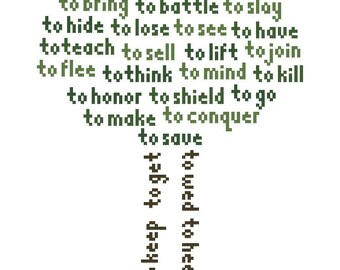 Into the Woods Sondheim Lyrics Cross-Stitch Pattern Download