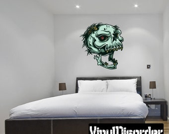 Skull Wall Decal - Wall Fabric - Vinyl Decal - Removable and Reusable - SkullUScolor004ET