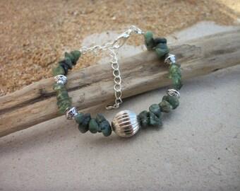 Emerald and Green Adventurine Semi Precious Gemstone Bracelet