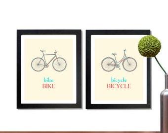 Bike Wall Art, Printable, Nursery Print Set, Vintage Bicycle, Modern Art, Last minute Gift ideas, Gift under 5