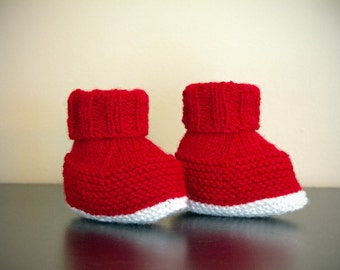 6 to 9 Months Handmade Knitted Baby Booties in Red and White