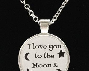 I Love You To The Moon & Back Quote Best Friend BFF Couple Necklace