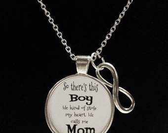 Mother Son Necklace, This Boy Stole My Heart He Calls Me Mom, Mother Gift Necklace