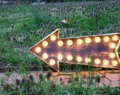 "Marquee Light Arrow Distressed - 22"" Wide"