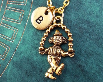 Juggling Clown Necklace, Gold Clown Charm, Personalized Necklace, Pendant Necklace, Juggler Necklace, Engraved Necklace Clown Keychain