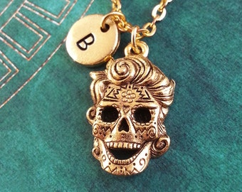 Sugar Skull with Hair Necklace Day Of The Dead Charm Personalized Necklace Dia de los Muertos Necklace Skull Necklace Gold Calavera Keychain