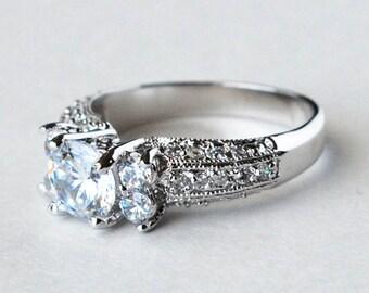 cz ring, cz wedding ring, cz engagement ring, cubic zirconia engagement ring, solitaire engagement ring, size 5 6 7 8 9 10 - MC1074931AZ