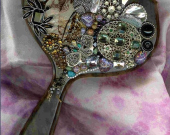 Deep India ~ Hand mirror richly decorated with stunning embellishment