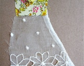 Carte robe de tissu fait main Collage - Kraft/jaune