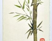 Bamboo Stalk Chinese Sumi-e Ink Original Brush Painting, Blank Greeting Card and Envelope