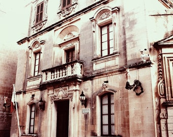 Old Building in Valletta Art Print, Sepia Photography, Wall Art, Home Decor, Landscape Photography, Urban Photography, Brown Photo