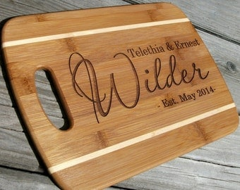 Custom Cutting Board Personalized Engraved Cheese Board Last Name Cutting Board Wedding Anniversary Gift
