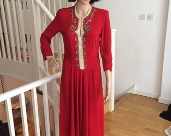 1940's red dress with ruching and amazing beading
