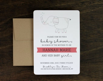 Girl Baby Shower Elephant Invitation