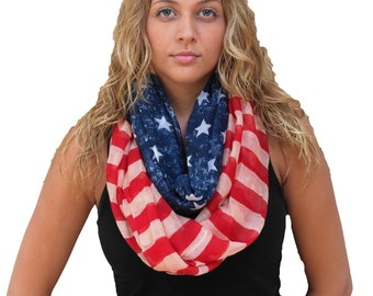 Free Shipping in USA- Patriotic Vintage American Flag Infinity scarf/ Red White & Blue scarf/ women's infinity scarf/ gift for her