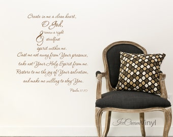 Psalm 51 Scripture Wall Decal for Bedroom Entryway Living Room Family Room Home Decor Vinyl Letters