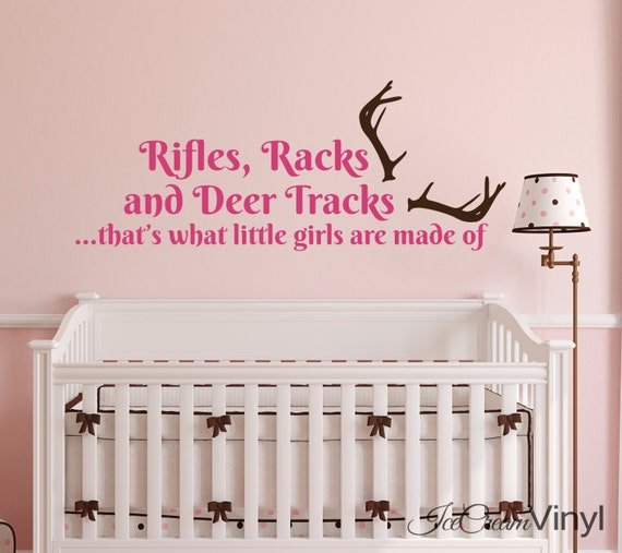 Rifles Racks Deer Tracks That's What Little Girls Are Made Of Wall Decal Hunting Wildlife Boys Girls Room