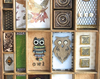 Original antique printer drawer/tray mixed media owl themed collage.