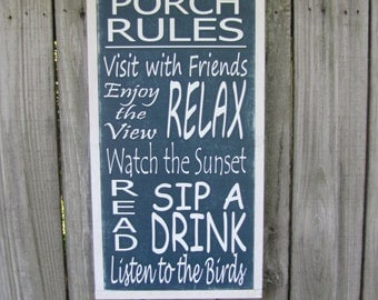 Porch Rules Wooden Sign Cabin Wood Sign Cottage Wall Art Inspirational Wood Sign 1x2